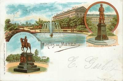"/ CPA FRANCE 57 ""Metz, esplanade, statues"""