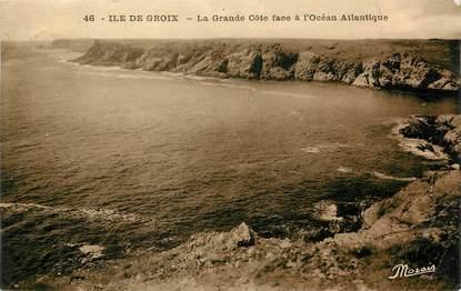 """/ CPA FRANCE 56 """"Ile de Groix, la grande côte face à l'Océan atlantique"""""""