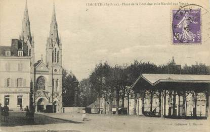 """/ CPA FRANCE 61 """"Vimoutiers, place de la Fontaine et le marché aux Veaux"""""""