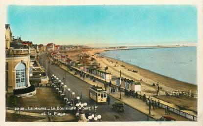 """CPSM FRANCE  76 """"Le Havre, le Bld Albert 1er"""" / TRAMWAY"""