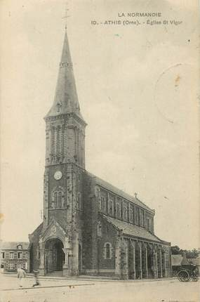 "/ CPA FRANCE 61 ""Athis, église Saint Vigor"""