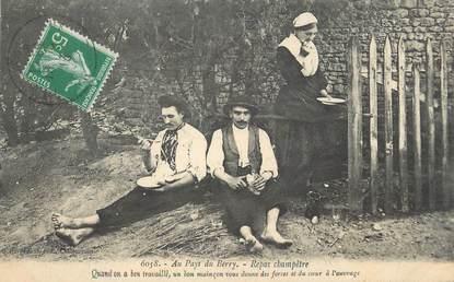 """/ CPA FRANCE 18 """"Au Pays du Berry, repas champêtre"""" / FOLKLORE"""