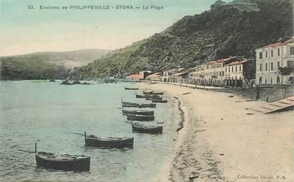 """CPA ALGERIE """"Env. de Philippeville, Stora, la plage"""""""