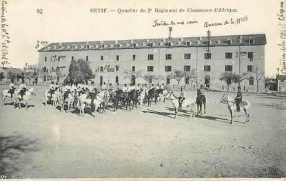 """CPA ALGERIE """"Sétif, quartier du 3è Régiment de chasseurs d'Afrique"""""""